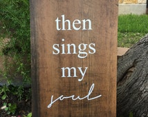 Then Sings My Soul | How Great Thou Art | Hymn Song Lyrics | Stained Wood Sign | Religious Art Gift | Christmas Gift | Home Decor