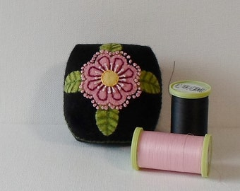 Handmade Pincushion Felted Wool Black with Pink Flower & Green Leaves Mini Cushion
