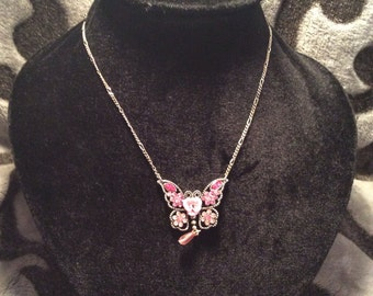 Pink butterfly necklace 14-16 in