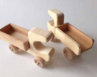 Set 2 Wooden Trucks Car Toys Unfinished Natural Wood Large 9 Inch Long First Toy