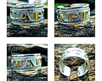 Silver CAPTAIN Ring, Sterling Silver Ring, Pirate Jewelry, Ship Captain Gift, Engraved Ring, Pirate Swag