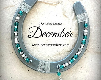 December Birthstone Horseshoe | December Birthstone Blue Zircon | December Swarovski Crystals | Horse | Horseshoe Gift | Birthday Gift