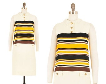 SALE Apiary Dress / 1960s Mod Mini Black and Yellow 60s Space Age Striped Scooter Military Go-Go Twiggy Cream White Spring Summer Shift Medi