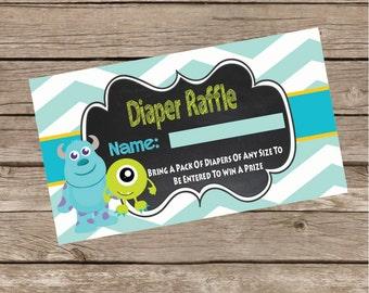 Monsters Inc Diaper Raffle Tickets