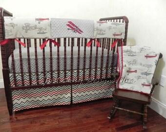 Bumperless Baby Crib Bedding Set Vilas -  Airplane Crib Bedding, Baby Boy Bedding, Teething Rail Cover, 1 - 4 pieces