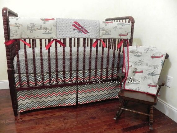 Bumperless baby crib bedding set vilas airplane crib - Airplane baby bedding sets ...