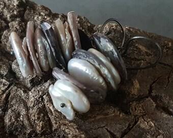 Pearl Earrings / Rustic & Elegance / Pearl - Heishi Hammered Shell / Handmade / Sterling Silver / Organic Jewelry
