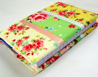 Handmade Padded Fabric Bound A6 Notebook with Retro Flowers Print and Ribbons