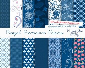 Royal Blue Digital Papers, Royal Blue Digital Paper Pack, Scrapbook Paper Pack, Prince Digital Papers, Royalty Papers, Royal Romance papers