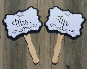 Set of 2 Photo Prop Wedding Signs - Double Sided Signs - Mr. and Mrs. & Just Married - Photo Booth Signs, Photobooth, Wedding, Photo Props