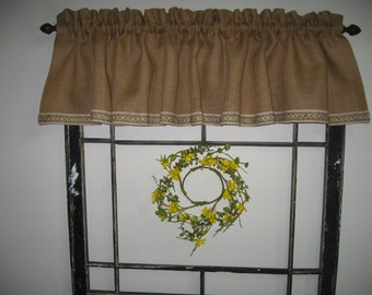 Burlap Farmhouse Valance