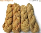 SALE 50g Recycled Sari Silk Ribbon, WHEAT