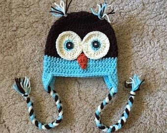 Crocheted Owl Hat in Aqua Blue