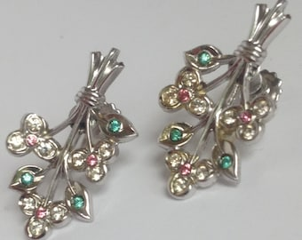 Vintage Coro Earrings Flower and Leaf with Aqua Pink and Clear Stones