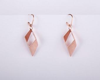 Rose Gold Rhombus Minimal Pendant Earrings Dangly Earrings Rose Golden