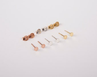 Minimal Studs Disc Earstuds Golden Rosegold Silver 925 Silver Studs Earrings Circle