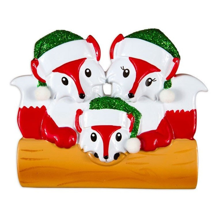 3 Red Foxes Family Ornament / Personalized by AdornamentsNY