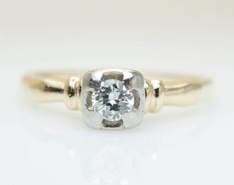 Vintage Engagement Ring Art Deco Engagement Diamond Ring Wedding Jewelry Retro Jewelry Simple Solitaire Gold Ring Vintage Ring