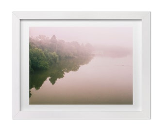 Pink Fog Over Lady Bird Lake, Austin Texas Landscape Photography, Fine Art Nature Print, Minimalist Home Decor, Custom Size Art