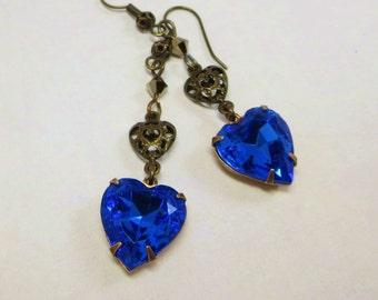 Sapphire Blue Heart Earrings Rhinestone Blue Heart Ear Dangles Victorian Downton Abbey