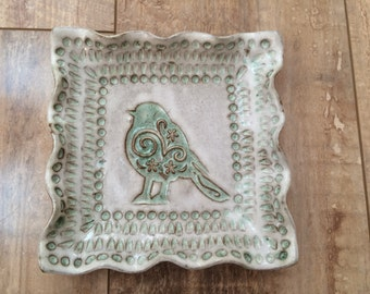 Handmade pottery square plate/ green bird plate