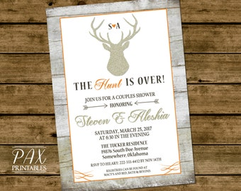 Printable Couples Shower Invitation - Rustic The Hunt Is Over Couples Shower, Engagement Party, Bridal Shower, Wedding Shower