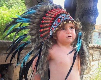 N12- From 2-5 years Kid / Child's: Turquoise Headdress 20,5 inch. – 52 cm