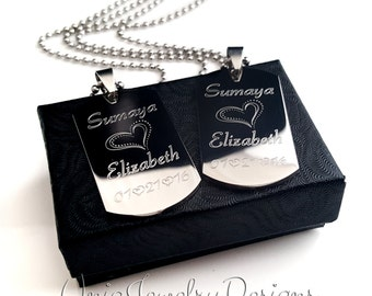 Couples Mini Dog Tag + Her One His Only + His and Hers Dog Tag Set + Couples Jewelry Set + Mini His and Her Set