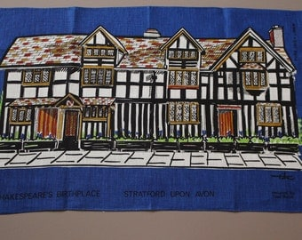 Vintage Tibor Reich Shakespeare's Birthplace Stratford Upon Avon Collectible Irish Linen Tea Towel