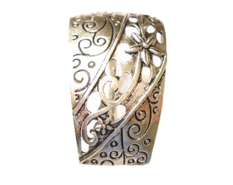 Large Silver Scarf Jewelry Slide Easy To  Slide On Scarf Silver Floral Vintage Slide Fit Any Thick Women Scarves Free Shipping In US