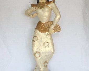 Vintage Hand Painted Chalkware/Plaster Asian/Siamese/Balinese Dancer Figurine
