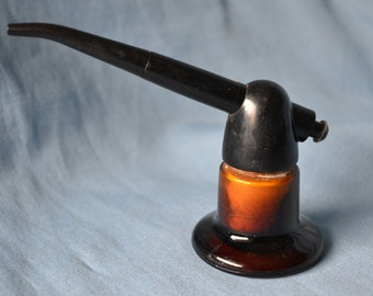 Vintage Amber Glass Atomizer, DeVilbiss Manufacturing Company, Bakelite Medical Atomizer