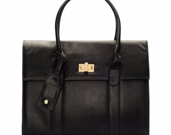"15-inch Womens Laptop Bag - GRACESHIP ""London"" Black Briefcase / Computer Bag / Messenger Bag / Laptop Tote"