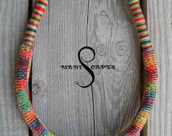 Summer in Peru OOAK hand-knitted necklace / tribal / hippie / bohemian / colorful / yarn-wrapped / knitted / 100% cotton