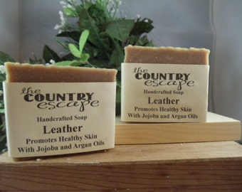 Leather Bath Soap -Rustic Scented -Gentle & Moisturizing - Great Lather - Handcrafted - Organic - Vegan - Natural Soap - Paraben Free
