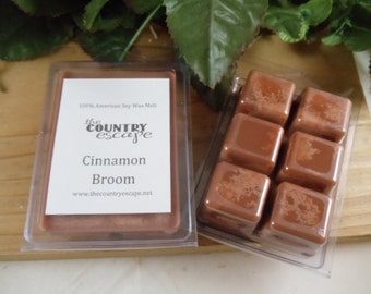 Cinnamon Broom Scented 100% Soy Wax Melt - Warm Cinnamon Scent - Maximum Scented