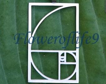 Fibonacci Golden ratio pendant 1 1/8 x 3/4 - Stainless Steel