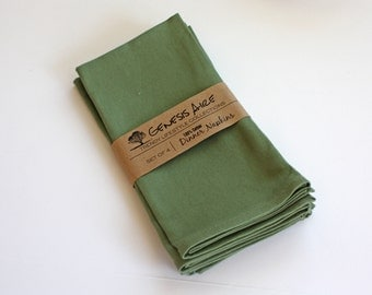 Green Cloth Napkins // Set of 4 Cotton Dinner Napkins // Eco-friendly 100% Cotton Twill Fabric