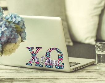Chi Omega decal, Chi-O computer sticker, Sorority laptop decal, Multiple sizes available, Indoor / Outdoor 3 year rated vinyl (1261)