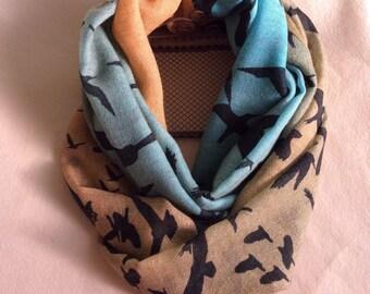 Christmas gift for her! 100% Wool infinity scarf,cute Print handmade wool scarf,Modern Wool scarf