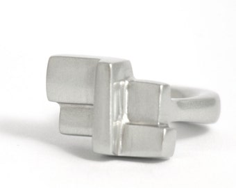 Four Corners Ring - Cast Sterling Silver Ring
