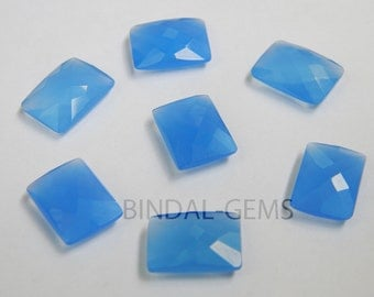 10 Pieces Lot Blue Chalcedony Octagon Shape Checker Cut Briolettes Loose Gemstone