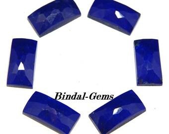 10 Pieces Wholesale Lot  Lapis Lazuli Baguette Shape Rose Cut Gemstone For Jewelry