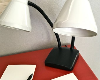 Iconic Mid Century Modern Double Gooseneck Lamp for Desk or Wall