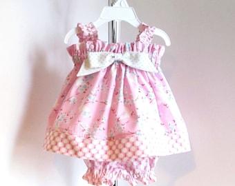 Baby Dress sz 0-3mo, baby summer dress, pink and aqua, baby sundress, baby girl clothes, baby girl clothing.