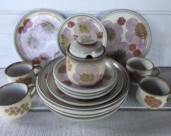 retro floral stoneware dishes gypsy dinner salad dessert plates cups sugar bowl w - Stoneware Dishes