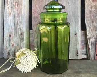 Wonderful Vintage XLARGE Green Paneled Glass Canister, Vintage Glass Storage Jar,  Large Emerald Canister,