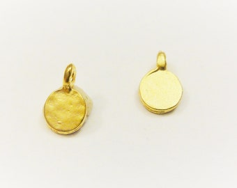 2 pc. Vermeil, 18k gold over 925 sterling silver tiny small discs, vermeil small discs, MATTE gold tiny discs
