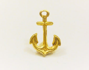 Vermeil, 18k gold over 925 sterling silver large Anchor Charm, matte  gold Anchor, pendant