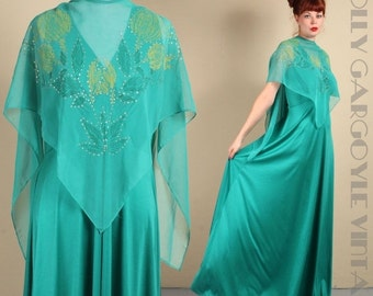 Vintage 1970s teal green goddess cape hand painted maxi dress - MD to LG disco seafoam 70s